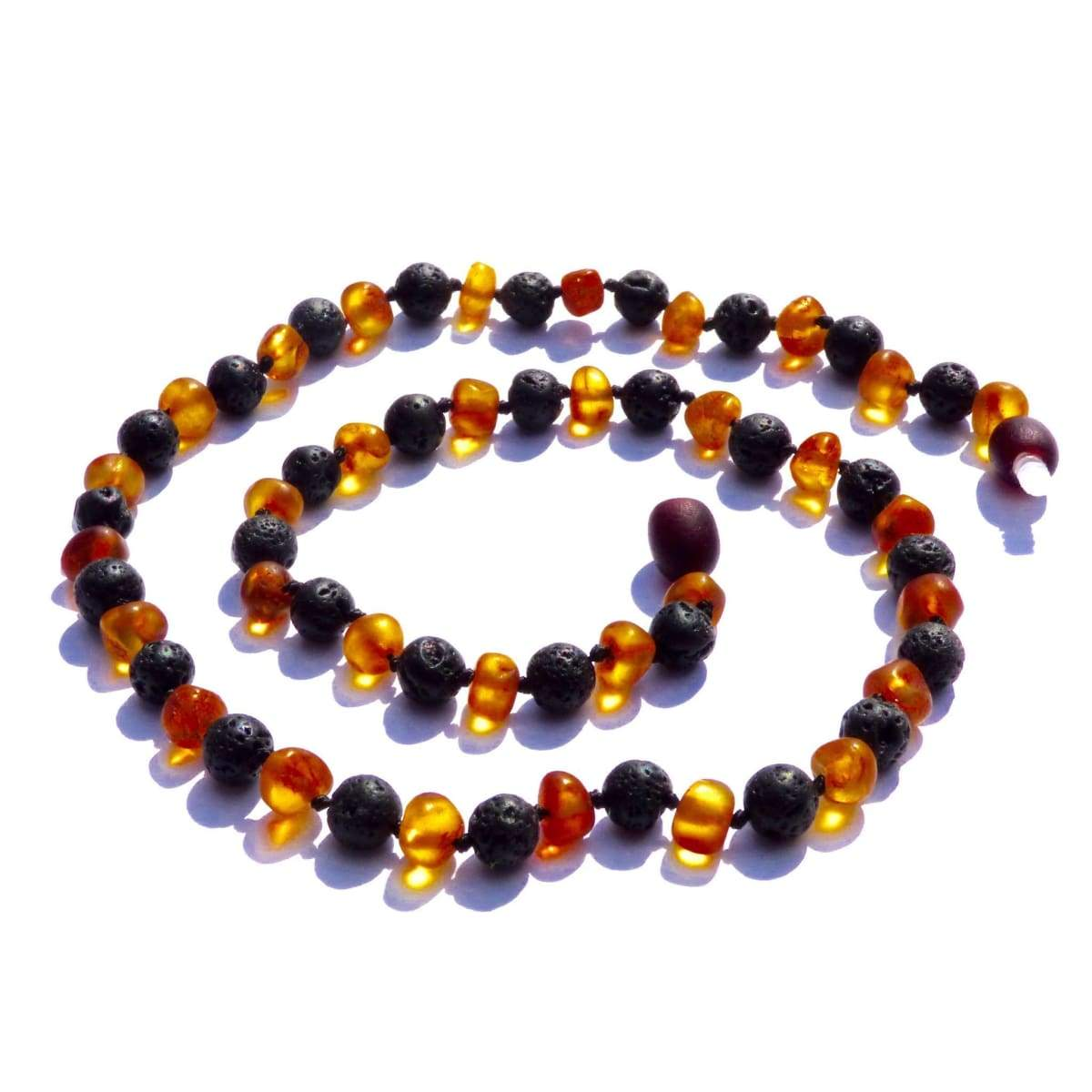 Amber-Gemstone Nutmeg & Lava Stone - 20 Necklace - Baltic Amber & Gemstone Jewelry