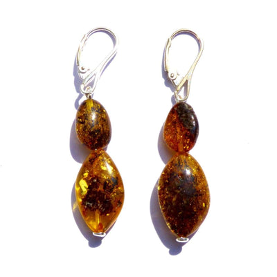 Baltic Amber Dark Green - Pair Of Earrings - Baltic Amber Jewelry