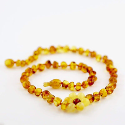 Baltic Amber Flower - 12 Necklace - Darker Center Bead - Pop Clasp - Baltic Amber Jewelry