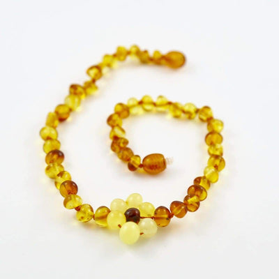 Baltic Amber Flower - 12 Necklace - Darker Center Bead - Twist Clasp - Baltic Amber Jewelry