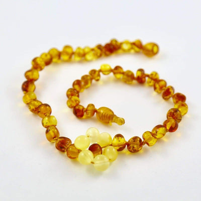 Baltic Amber Flower - 12 Necklace - Lighter Center Bead - Pop Clasp - Baltic Amber Jewelry