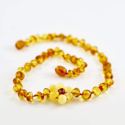 Baltic Amber Flower - 12 Necklace - Lighter Center Bead - Twist Clasp - Baltic Amber Jewelry