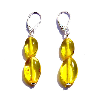Baltic Amber Lemon - Pair Of Earrings - Baltic Amber Jewelry