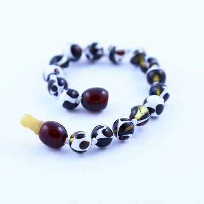 Baltic Amber Mosaic - 5.5 Bracelet / Anklet - Pop Clasp - Baltic Amber Jewelry