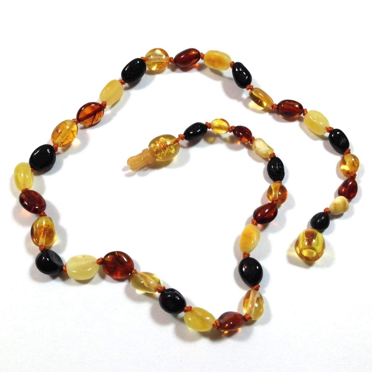 Baltic Amber Multicolored Bean - 12 Necklace - Pop Clasp - Baltic Amber Jewelry