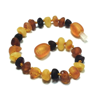 Baltic Amber Multicolored Semi-Polish - 5.5 Bracelet / Anklet - Twist Clasp - Baltic Amber Jewelry