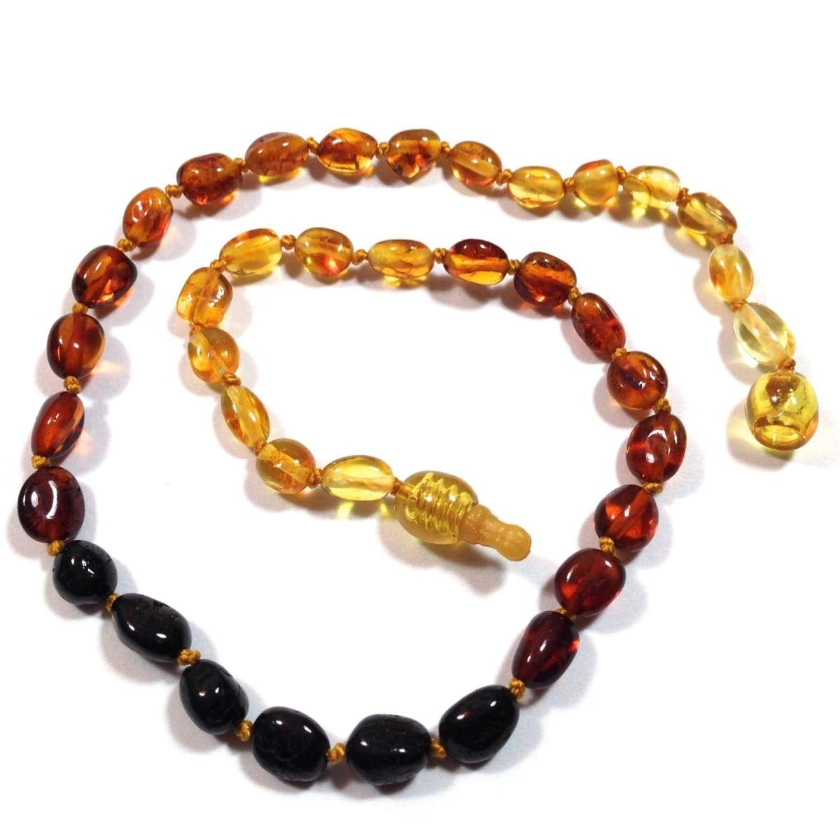Baltic Amber Rainbow Bean - 12 Necklace - Pop Clasp - Baltic Amber Jewelry