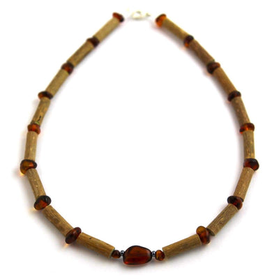 Hazel-Amber Cognac - 11 Necklace - Lobster Claw Clasp - Hazelwood & Baltic Amber Jewelry
