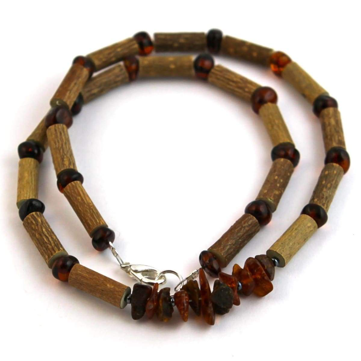 Hazel-Amber Dark Cognac (Chips On Necklace) - 16 Necklace - Hazelwood & Baltic Amber Jewelry