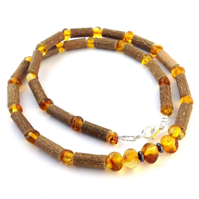 Hazel-Amber Honey - 16 Necklace - Lobster Claw Clasp - Hazelwood & Baltic Amber Jewelry