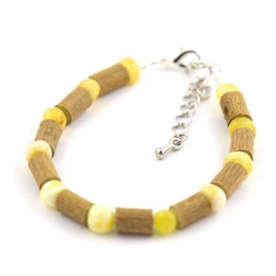 Hazel-Amber Milk & Butter - 6-7 Adjustable Anklet - Lobster Claw Clasp - Hazelwood & Baltic Amber Jewelry