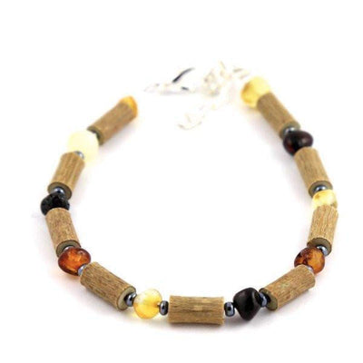 Hazel-Amber Multicolored - 6-7 Adjustable Anklet - Lobster Claw Clasp - Hazelwood & Baltic Amber Jewelry