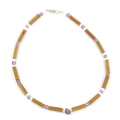 Hazel-Gemstone Amethyst & White Quartz - 11 Necklace - Barrel Twist Clasp - Hazelwood & Gemstone Jewelry