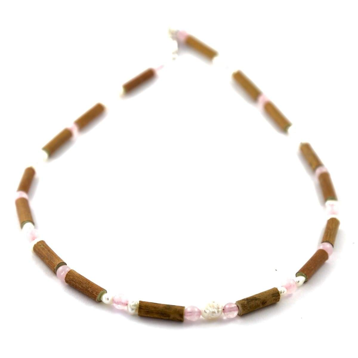 Hazel-Gemstone Freshwater Pearl & Rose Quartz - 11 Necklace - Barrel Twist Clasp - Hazelwood & Gemstone Jewelry