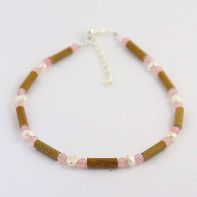 Hazel-Gemstone Freshwater Pearl & Rose Quartz - 9.5-10.5 Adjustable Anklet - Hazelwood & Gemstone Jewelry