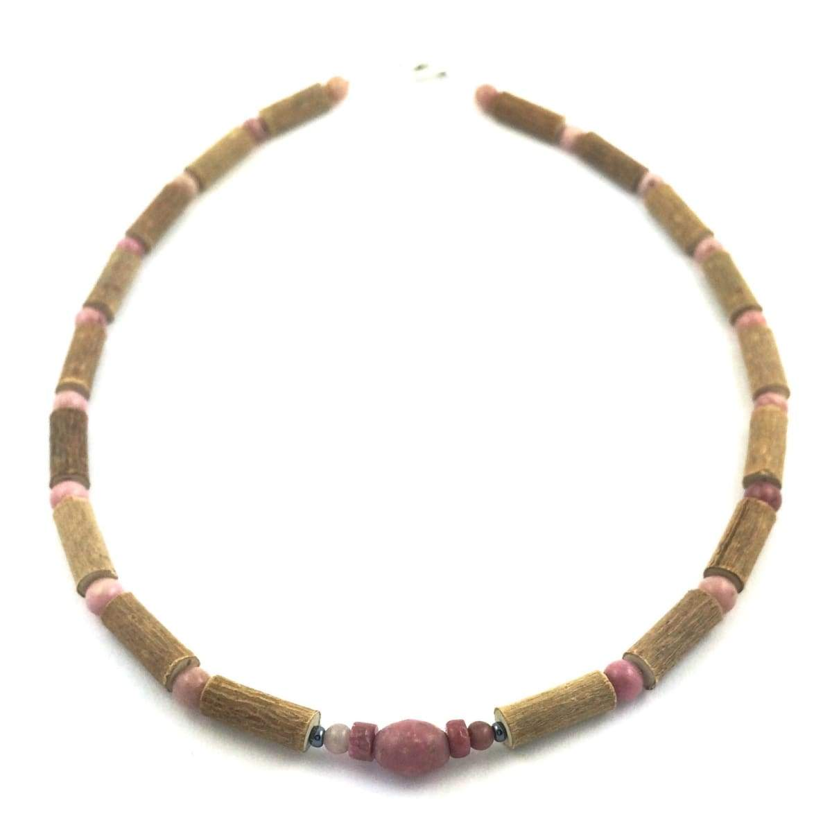 Hazel-Gemstone Pink Rhodonite - 13.5 Necklace - Lobster Claw Clasp - Hazelwood & Gemstone Jewelry