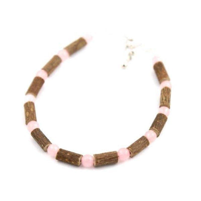 Hazel-Gemstone Rose Quartz - 6-7 Adjustable Anklet - Lobster Claw Clasp - Hazelwood & Gemstone Jewelry