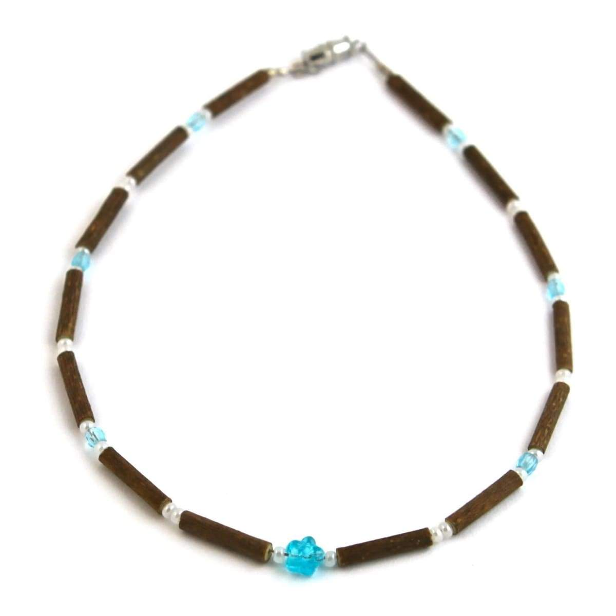 Hazelwood Aqua Flower - 11 Necklace - Barrel Twist Clasp - Hazelwood Jewelry