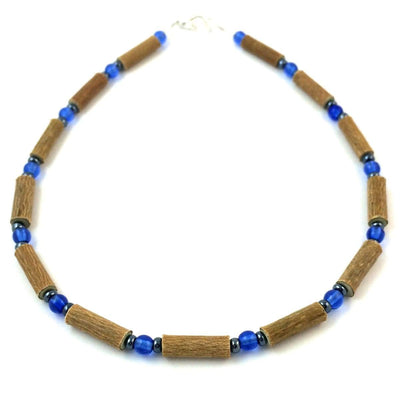 Hazelwood Blue & Hematite - 11 Necklace - Lobster Claw Clasp - Hazelwood Jewelry