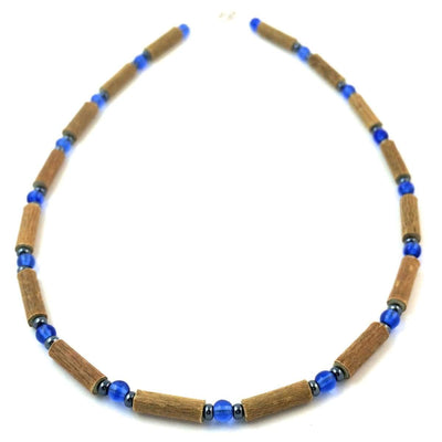Hazelwood Blue & Hematite - 13.5 Necklace - Lobster Claw Clasp - Hazelwood Jewelry