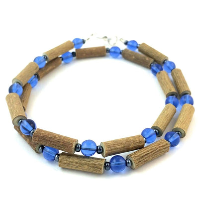 Hazelwood Blue & Hematite - 16 Necklace - Hazelwood Jewelry
