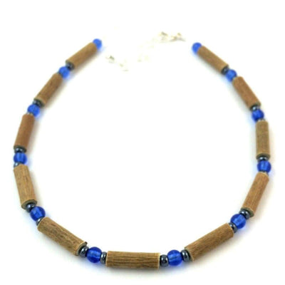 Hazelwood Blue & Hematite - 9.5-10.5 Adjustable Anklet - Hazelwood Jewelry