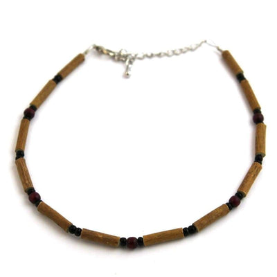 Hazelwood Burgundy & Black - 9.5-10.5 Adjustable Anklet - Hazelwood Jewelry