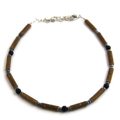Hazelwood Dark Blue & Hematite - 9.5-10.5 Adjustable Anklet - Hazelwood Jewelry