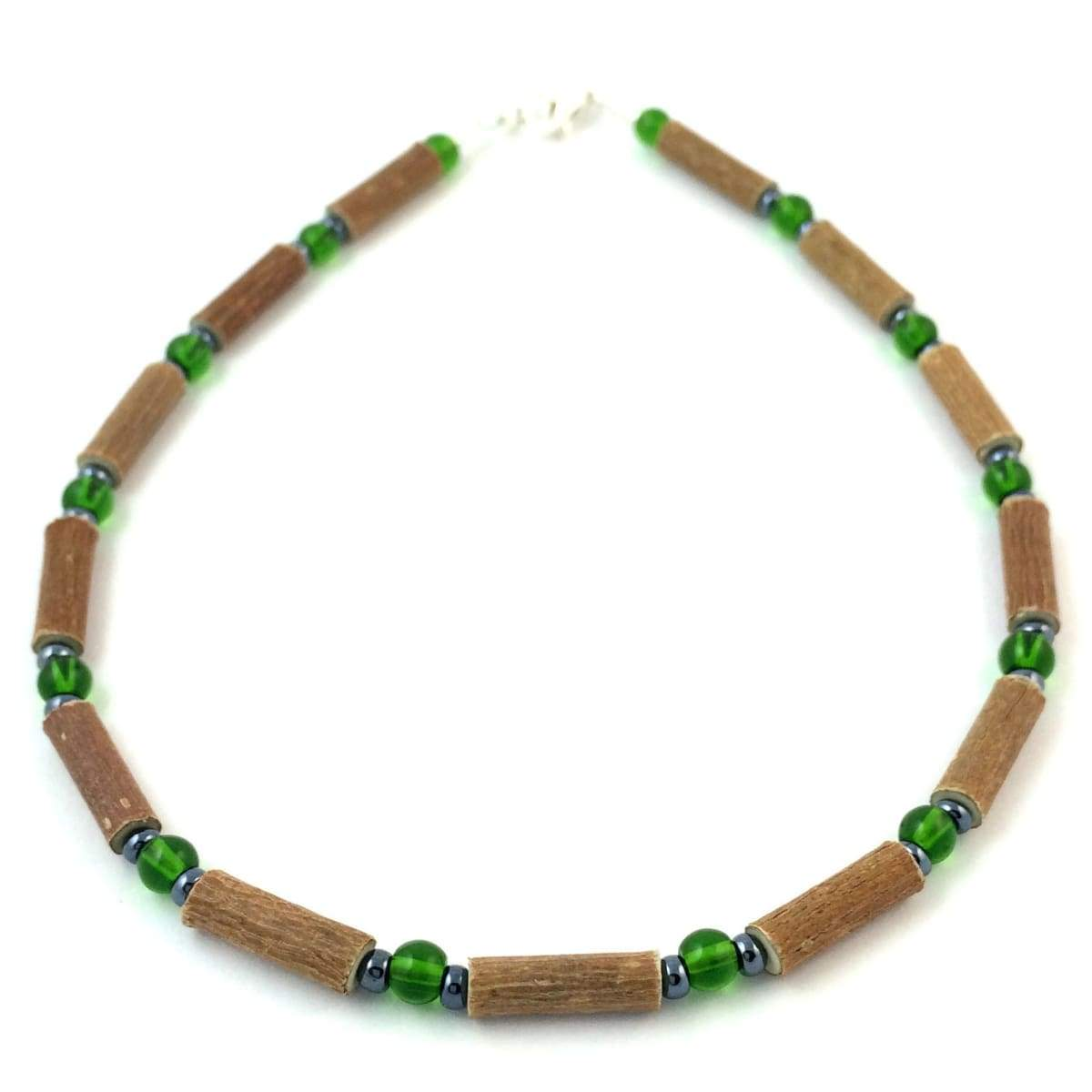 Hazelwood Green & Hematite - 11 Necklace - Lobster Claw Clasp - Hazelwood Jewelry