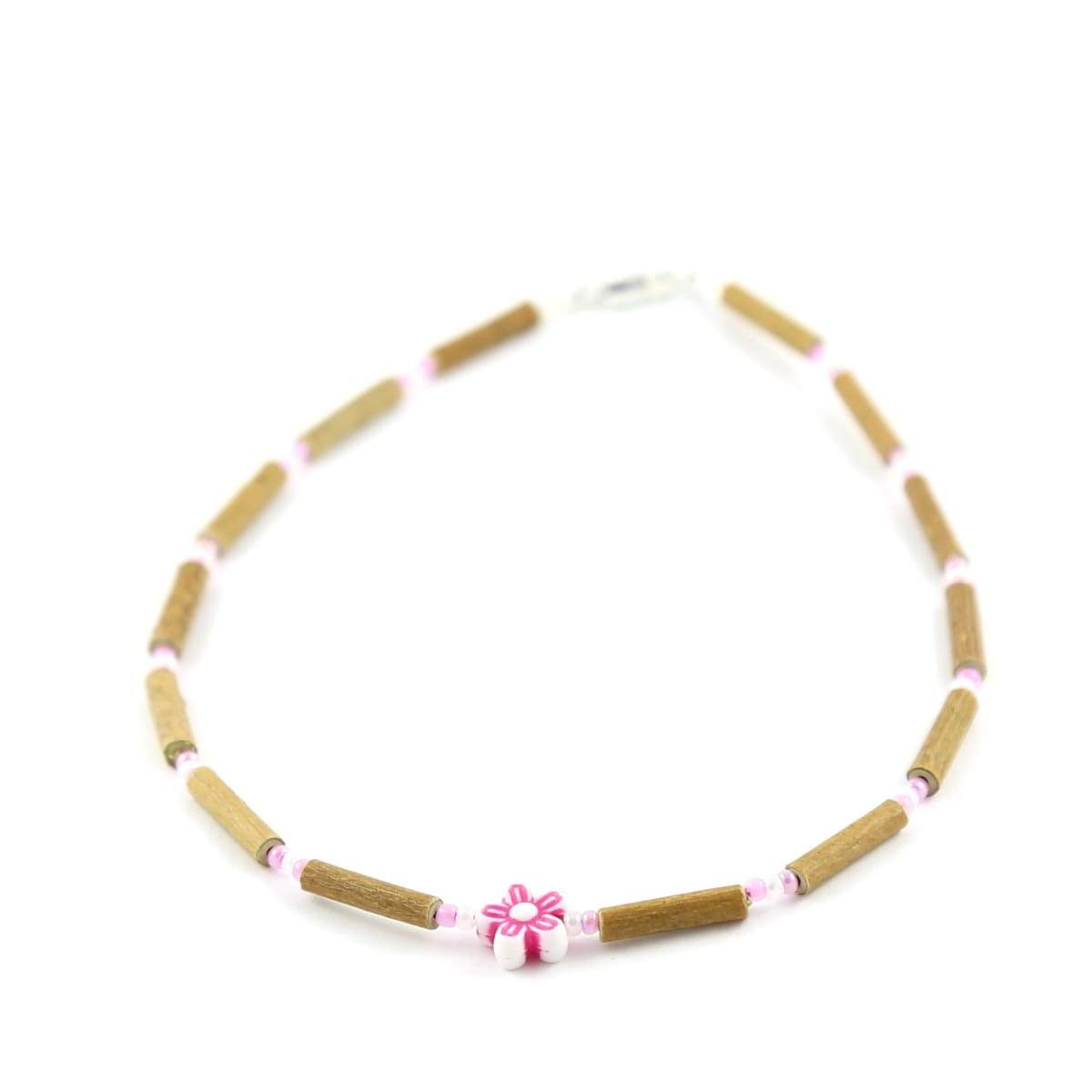 Hazelwood Pink Flower - 11 Necklace - Barrel Twist Clasp - Hazelwood Jewelry