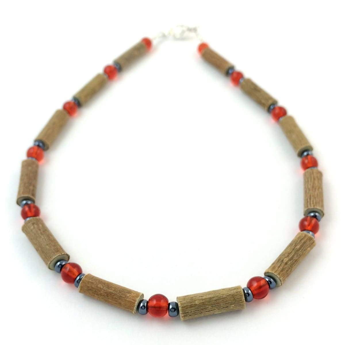 Hazelwood Red & Hematite - 11 Necklace - Lobster Claw Clasp - Hazelwood Jewelry