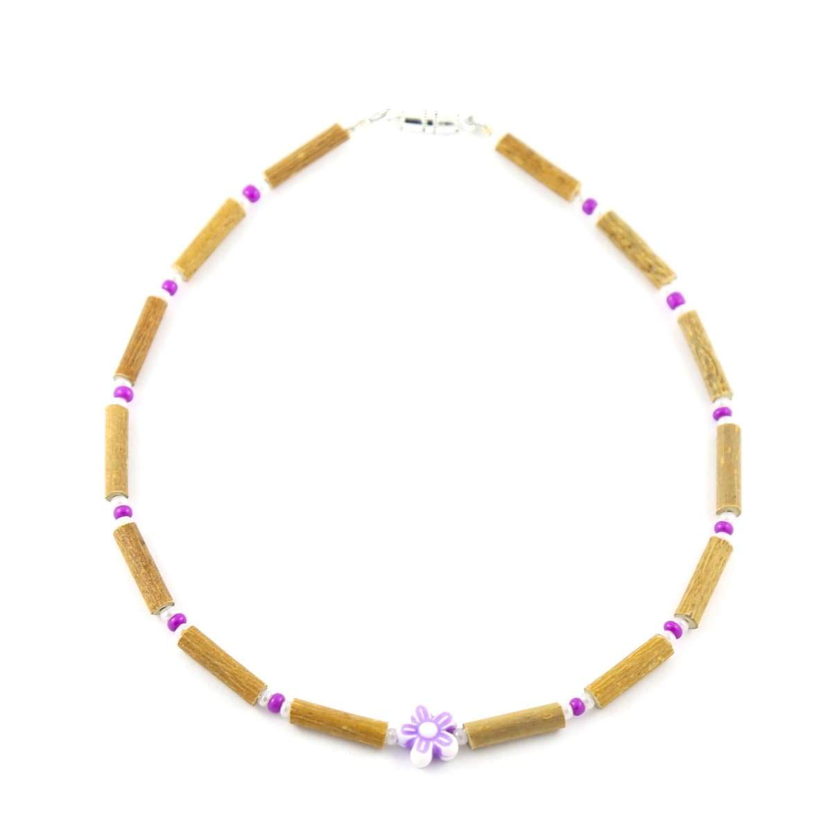 Hazelwood Violet Flower - 11 Necklace - Barrel Twist Clasp - Hazelwood Jewelry