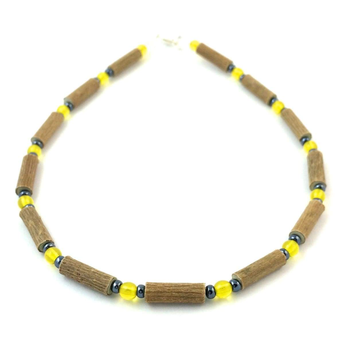 Hazelwood Yellow & Hematite - 11 Necklace - Lobster Claw Clasp - Hazelwood Jewelry