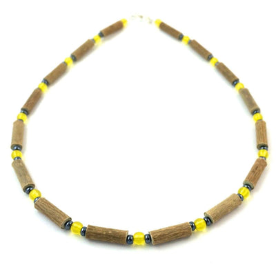 Hazelwood Yellow & Hematite - 13.5 Necklace - Lobster Claw Clasp - Hazelwood Jewelry