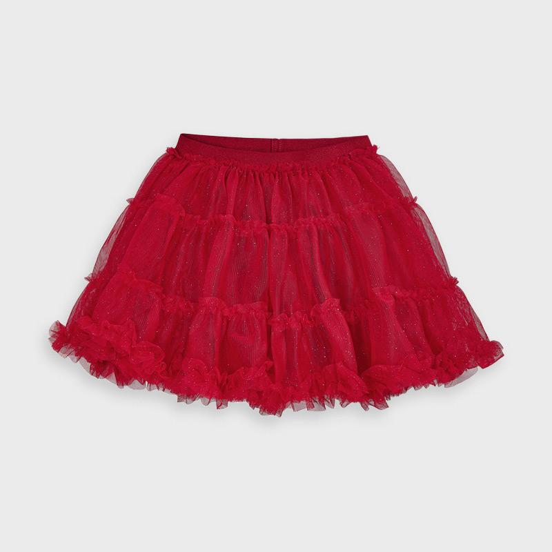 MAYORAL 4953 RED TULLE GLITTER SKIRT IN STOCK