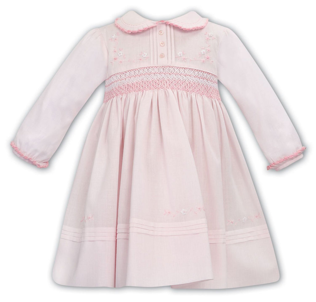 SARAH LOUISE 012068 PINK HAND SMOCKED DRESS