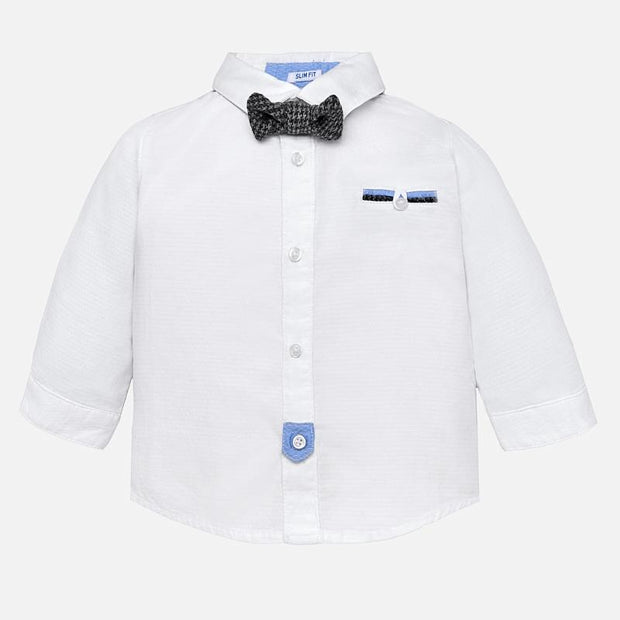 MAYORAL 2128 WHITE LONG SLEEVE SHIRT WITH BOWTIE IN STOCK