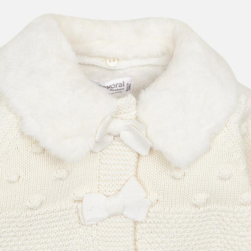 MAYORAL 2444 OFF WHITE COAT AND BONNET IN STOCK