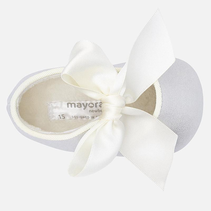 MAYORAL 9930 ICE GREY SILVER MARY JANE PRAM SHOES IN STOCK