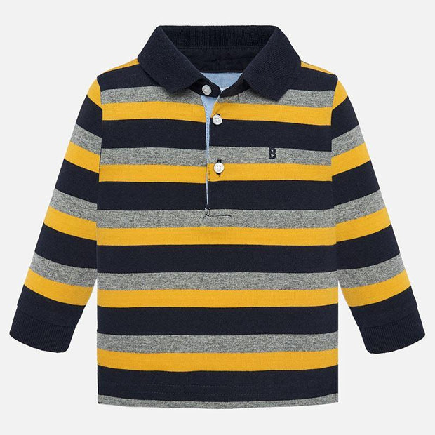 MAYORAL 2105 YELLOW LONG SLEEVE STRIPE POLO SHIRT