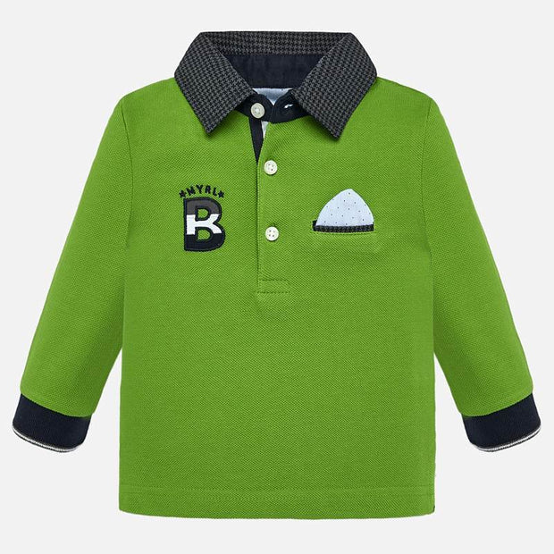 MAYORAL 2109 GREEN LONG SLEEVE POLO SHIRT