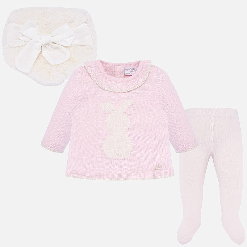 MAYORAL 2201 PINK JUMPER AND SHORTS SET