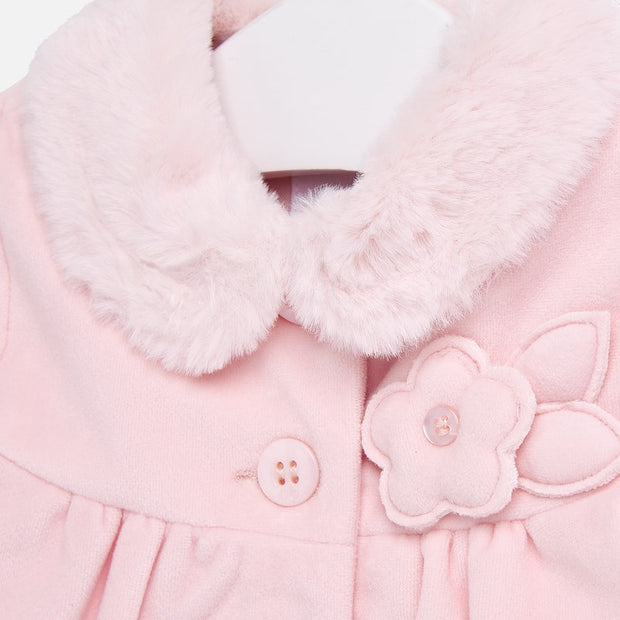 MAYORAL 2408 PINK VELVET COAT