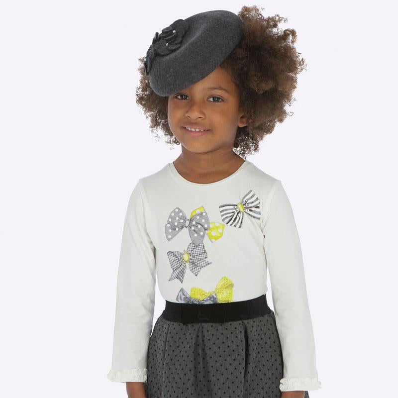 MAYORAL 4009 YELLOW LONG SLEEVE RUFFLE TEE-SHIRT