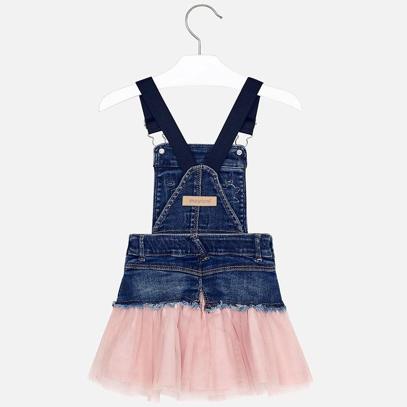 MAYORAL 4913 PINK DENIM TULLE SKIRTED DRESS