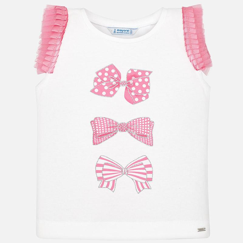 MAYORAL 3021 CHEWING GUM PINK SHORT SLEEVE TEE-SHIRT IN STOCK