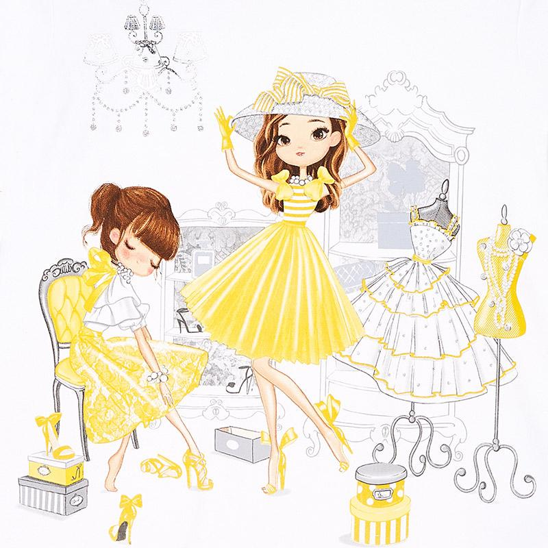 MAYORAL 3945 YELLOW SHOPPING DOLLS DRESS IN STOCK