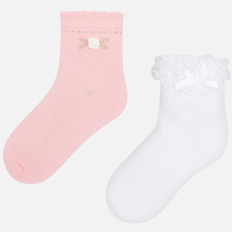 MAYORAL 10576 BLUSH TWO PACK RUFFLE SOCKS IN STOCK