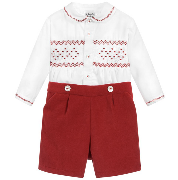 SARAH LOUISE 011253 WHITE RED TWO PIECE SET IN STOCK