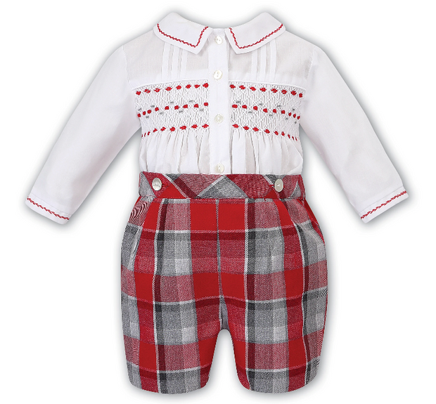 SARAH LOUISE 011730 WHITE RED GREY SMOCKED SUIT IN STOCK